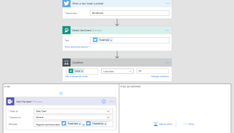 azure flow text analyzer steps teams