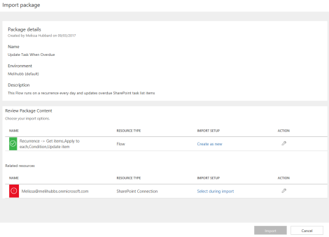 import flow package office 365