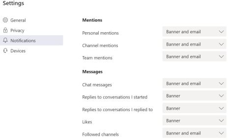 microsoft teams mentions and messages settings